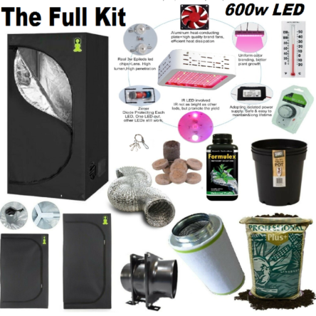 Complete 600w Led Grow Tent Kit Set Up + ALL SIZES indoors hydroponics herb room (kit 315)